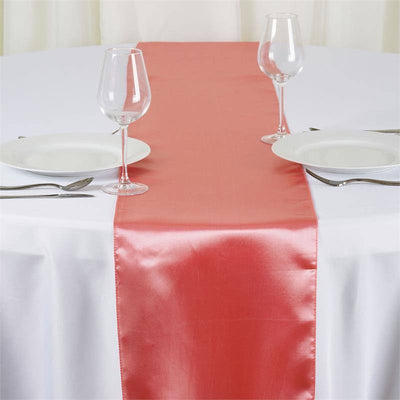 "12"" x 108"" SATIN Runner For Table Top Wedding Catering Party Decorations  Rose Quartz"