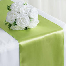 "12"" x 108"" SATIN Runner For Table Top Wedding Catering Party Decorations  Apple Green"