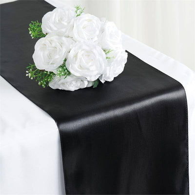 "12"" x 108"" SATIN Runner For Table Top Wedding Catering Party Decorations  Black"