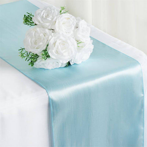 "12"" x 108"" SATIN Runner For Table Top Wedding Catering Party Decorations  Blue"