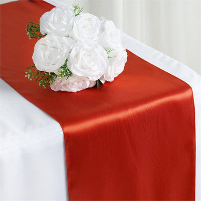 "12"" x 108"" SATIN Runner For Table Top Wedding Catering Party Decorations  Burnt Orange"