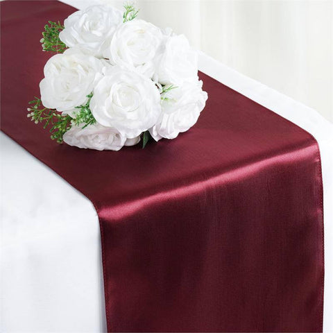 "12"" x 108"" SATIN Runner For Table Top Wedding Catering Party Decorations  Burgundy"