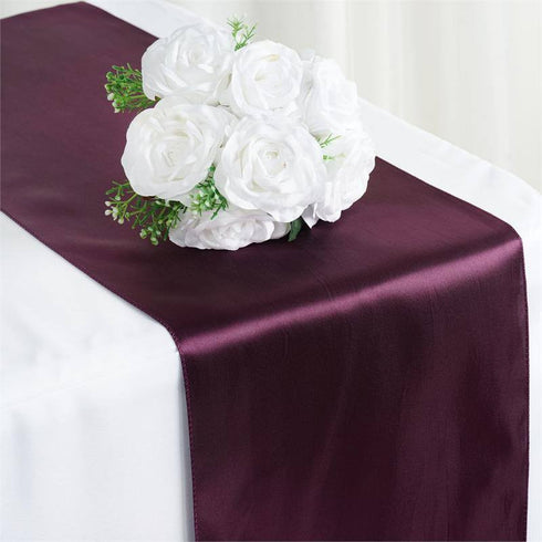 "12"" x 108"" SATIN Runner For Table Top Wedding Catering Party Decorations  Eggplant"