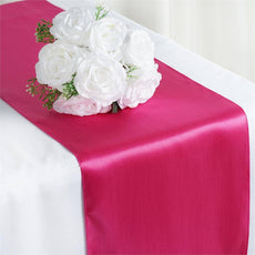"12"" x 108"" SATIN Runner For Table Top Wedding Catering Party Decorations  Fushia"