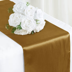 "12"" x 108"" SATIN Runner For Table Top Wedding Catering Party Decorations  Gold"