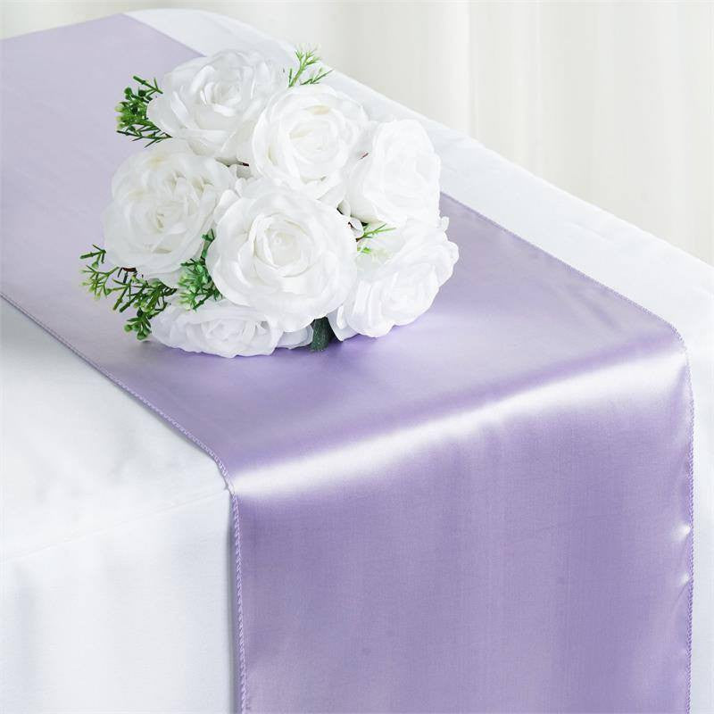 "12"" x 108"" SATIN Runner For Table Top Wedding Catering Party Decorations  Lavender"