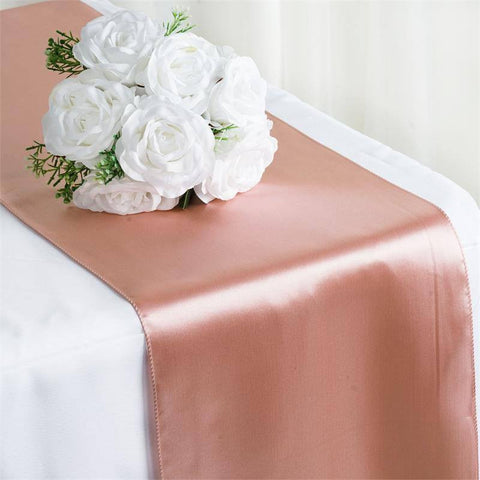 "12"" x 108"" SATIN Runner For Table Top Wedding Catering Party Decorations  Mauve"