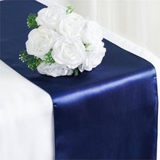 "12"" x 108"" SATIN Runner For Table Top Wedding Catering Party Decorations  Navy Blue"