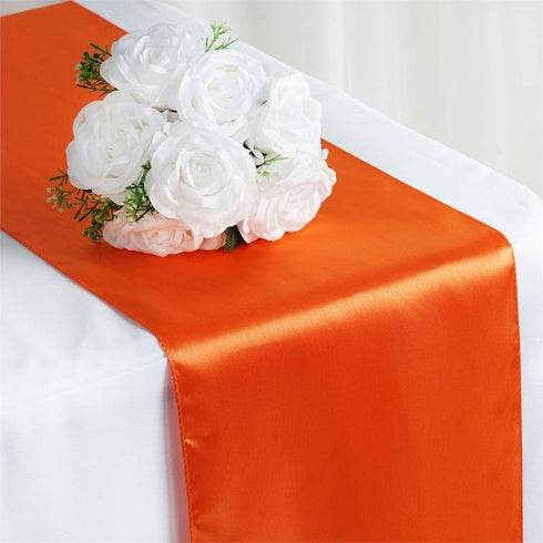 "12"" x 108"" SATIN Runner For Table Top Wedding Catering Party Decorations  Orange"