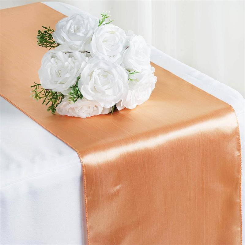 "12"" x 108"" SATIN Runner For Table Top Wedding Catering Party Decorations  Peach"