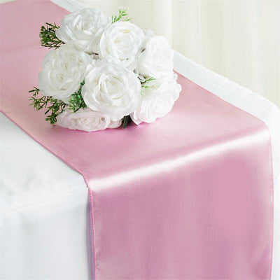 "12"" x 108"" SATIN Runner For Table Top Wedding Catering Party Decorations  Pink"