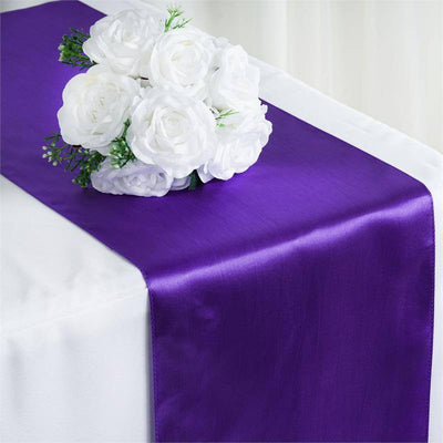 "12"" x 108"" SATIN Runner For Table Top Wedding Catering Party Decorations  Purple"