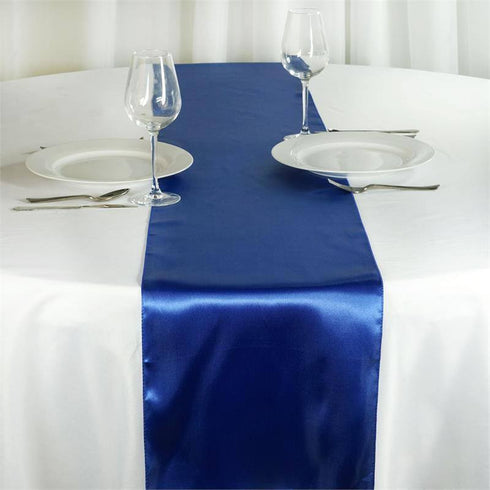 "12"" x 108"" SATIN Runner For Table Top Wedding Catering Party Decorations  Royal Blue"