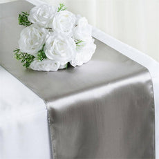 Satin Table Runner - Silver - 12 x 108""