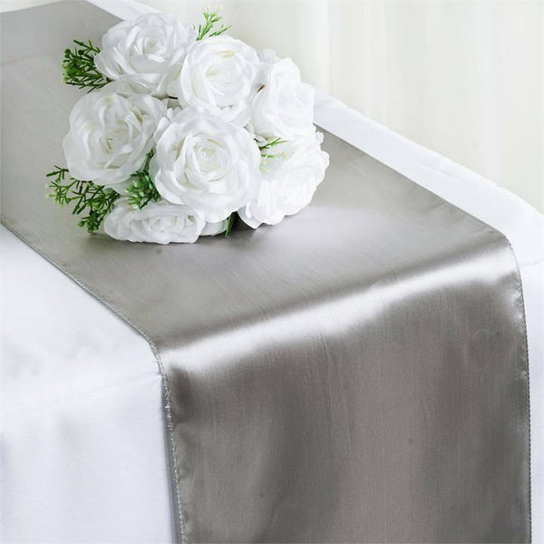 "12""x108"" Silver Satin Table Runner"