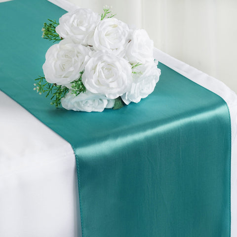 "12"" x 108"" SATIN Runner For Table Top Wedding Catering Party Decorations  Turquoise"