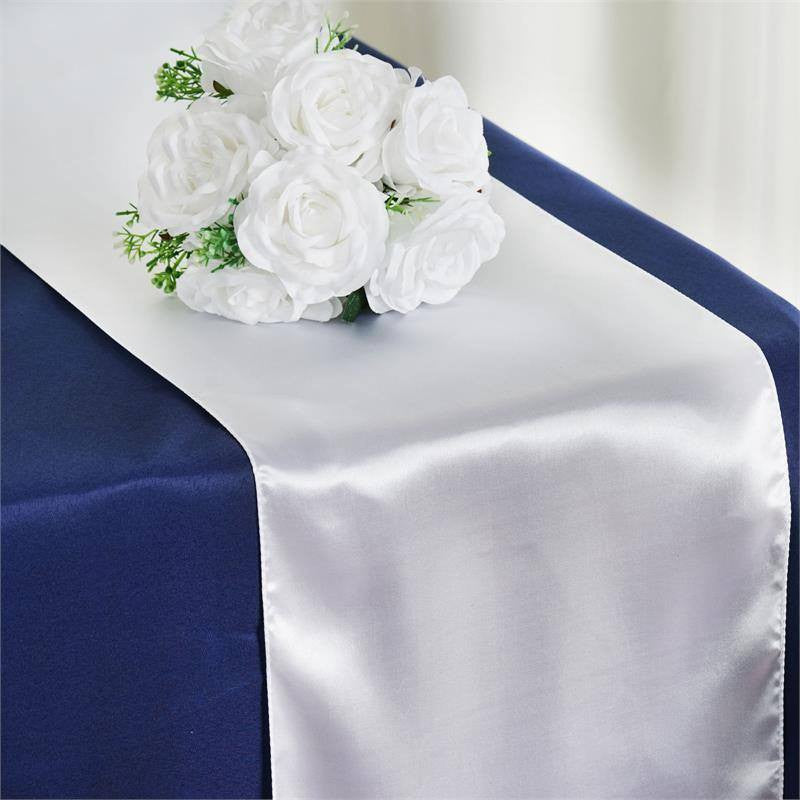 "12"" x 108"" SATIN Runner For Table Top Wedding Catering Party Decorations  White"