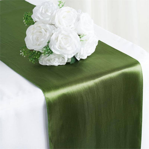 "12"" x 108"" SATIN Runner For Table Top Wedding Catering Party Decorations  Moss / Willow"