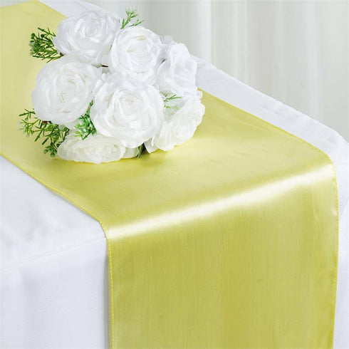 "12"" x 108"" SATIN Runner For Table Top Wedding Catering Party Decorations  Yellow12""x108"" Yellow Satin Table Runner"