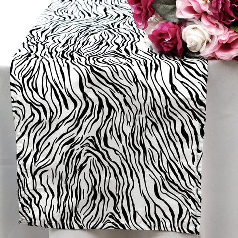 Taffeta Velvet Tiger Print Runner Table Top  Catering Party Decorations - White|Black