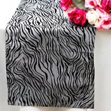 "12"" x 108"" Taffeta Velvet Tiger Print Runner For Table Top Wedding Catering Party Decorations - Silver/Black"