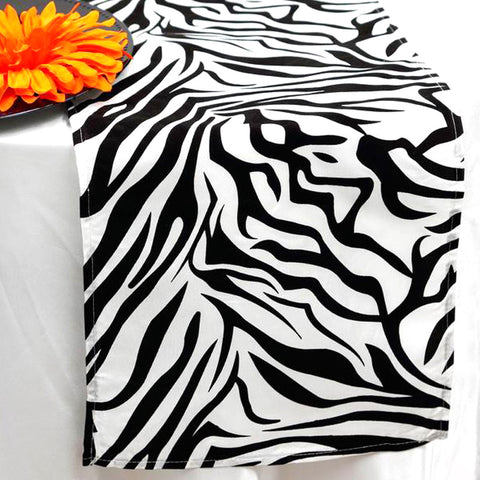 Taffeta Velvet Zebra Print Runner Table Top  Catering Party Decorations - White|Black