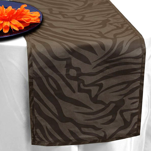 Taffeta Velvet Zebra Print Runner Table Top  Catering Party Decorations - Chocolate