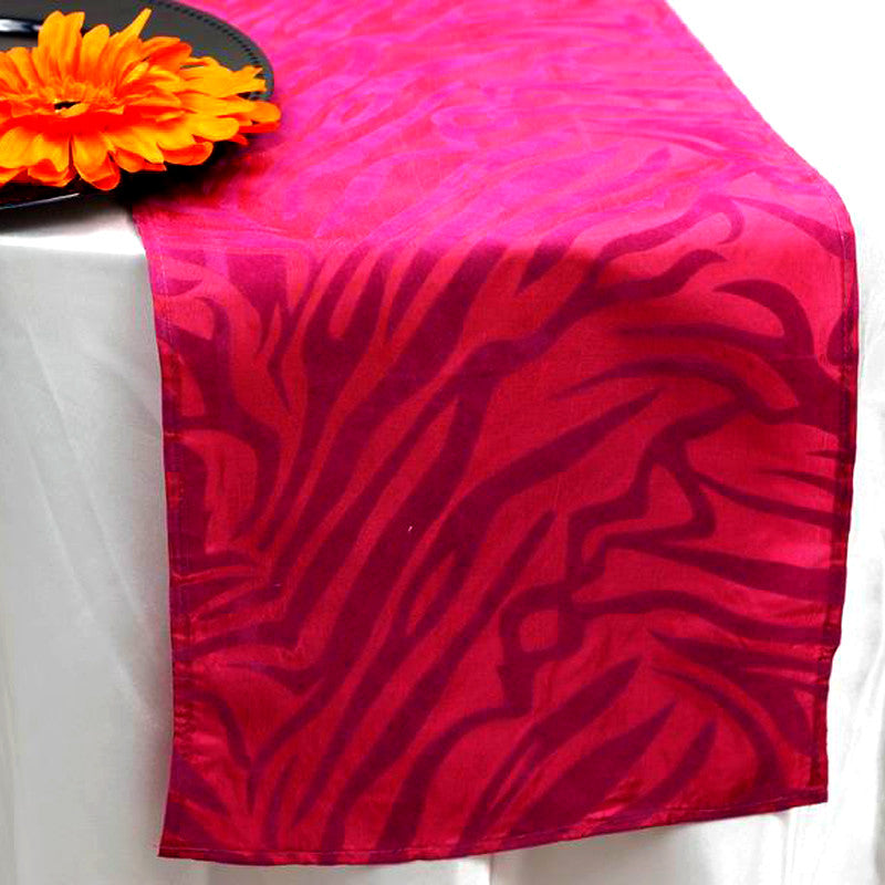 Taffeta Velvet Zebra Print Runner Table Top  Catering Party Decorations - Fushia