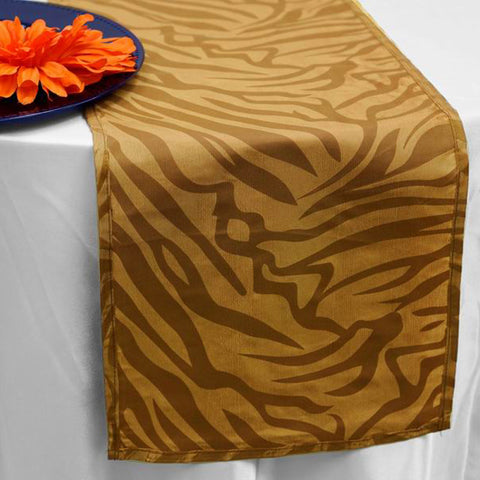 Taffeta Velvet Zebra Print Runner Table Top  Catering Party Decorations - Gold