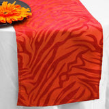 Taffeta Velvet Zebra Print Runner Table Top  Catering Party Decorations - Red