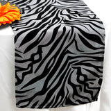 Taffeta Velvet Zebra Print Runner Table Top  Catering Party Decorations - Silver|Black