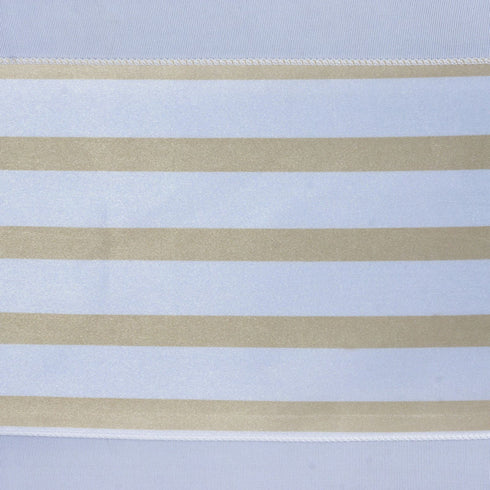5pc x Ever Lovable Satin Stripes Chair Sash - White / Champagne
