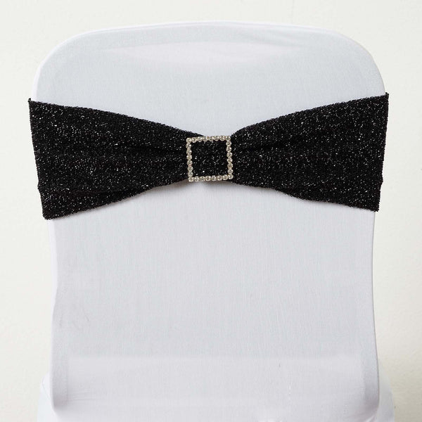 5 Pack | Black Metallic Shiny Glittered Spandex Chair Sashes