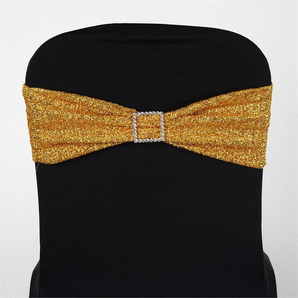 5 Pack | Gold Metallic Shiny Glittered Spandex Chair Sashes