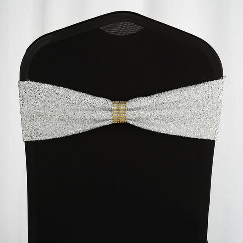 5 Pack | Silver Metallic Shiny Glittered Spandex Chair Sashes