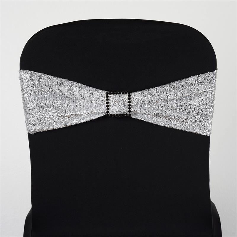 5 Pack Silver Metallic Shiny Glittered Spandex Chair