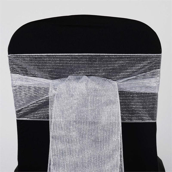 "5 PCS | 7x108"" Silver Glittery Pinstripe Chair Sashes"