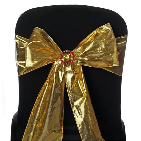 Shimmering Polyester Chair Sashes - Gold - 5 PCS