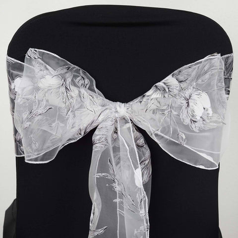 5 PCS White Sheer Organza Chair Sash With White Rose Design For Wedding Party Decorations
