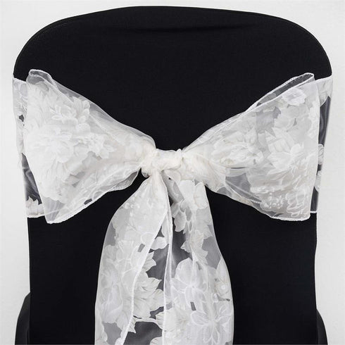 White Sheer Organza Chair Sash With White Peony Designs - 5pcs