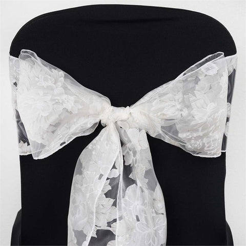 5 PCS White Sheer Organza Chair Sash With White Peony Design For Wedding Party Decorations