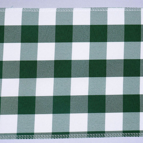 5 PCS Green/White Gingham Polyester Chair Sashes - 6x108""