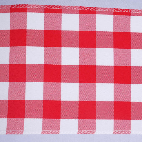 5 PCS Red/White Gingham Polyester Chair Sashes - 6x108""