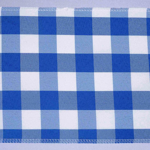 5 PCS Royal Blue/White Gingham Polyester Chair Sashes - 6x108""