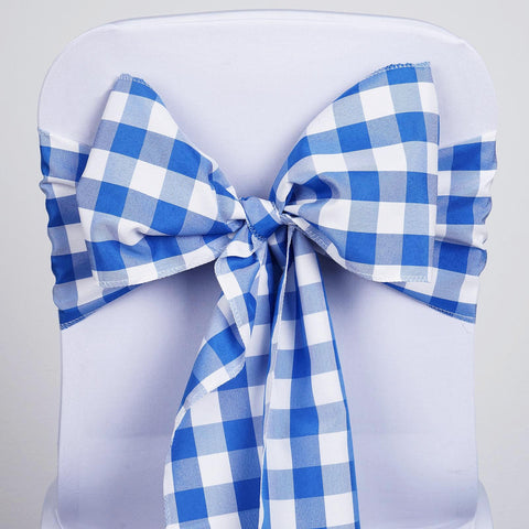 5 PCS Royal Blue/White Gingham Polyester Chair Sashes Tie Bows Catering Outdoor Party Decorations - 6x108""