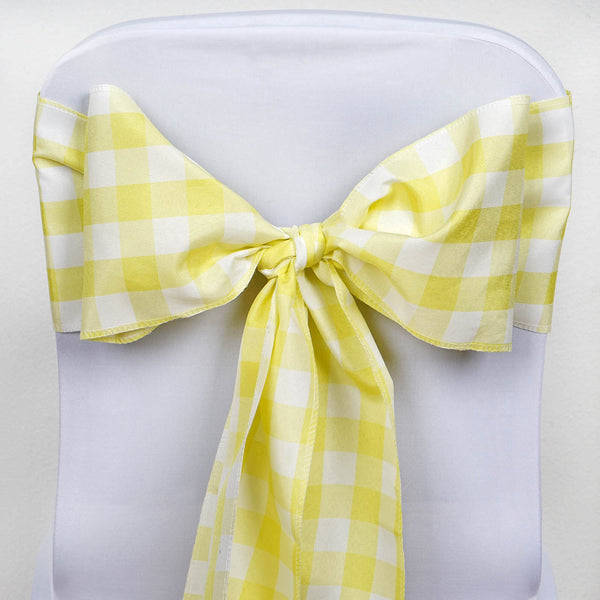 5 Pack | Buffalo Plaid Checkered Chair Sashes - Yellow/White