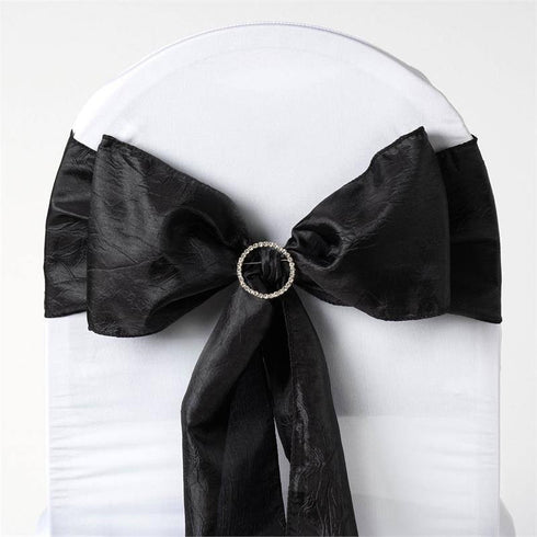 "5 PCS | 6""x106"" Black Crinkle Crushed Taffeta Chair Sashes"
