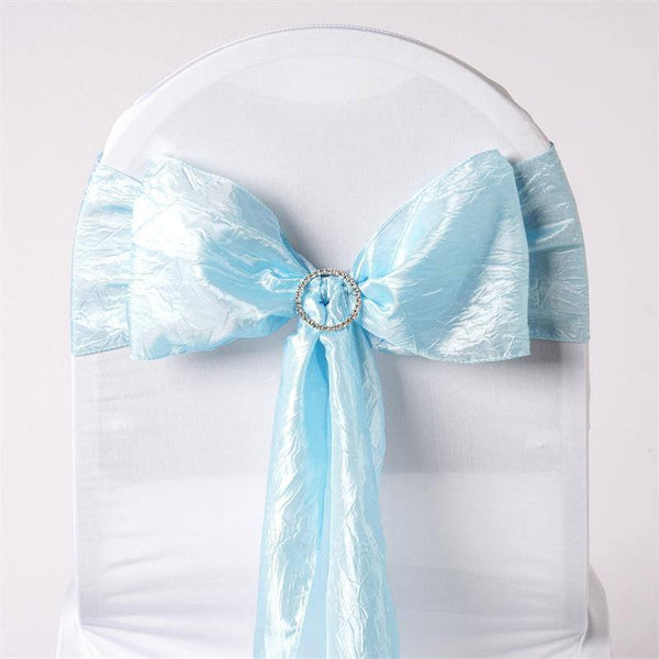 "5 PCS | 6""x106"" Light Blue Crinkle Crushed Taffeta Chair Sashes"