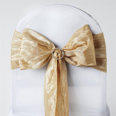 "5 PCS | 6""x106"" Champagne Crinkle Crushed Taffeta Chair Sashes"