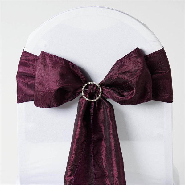 "5 PCS | 6""x106"" Eggplant Crinkle Crushed Taffeta Chair Sashes"